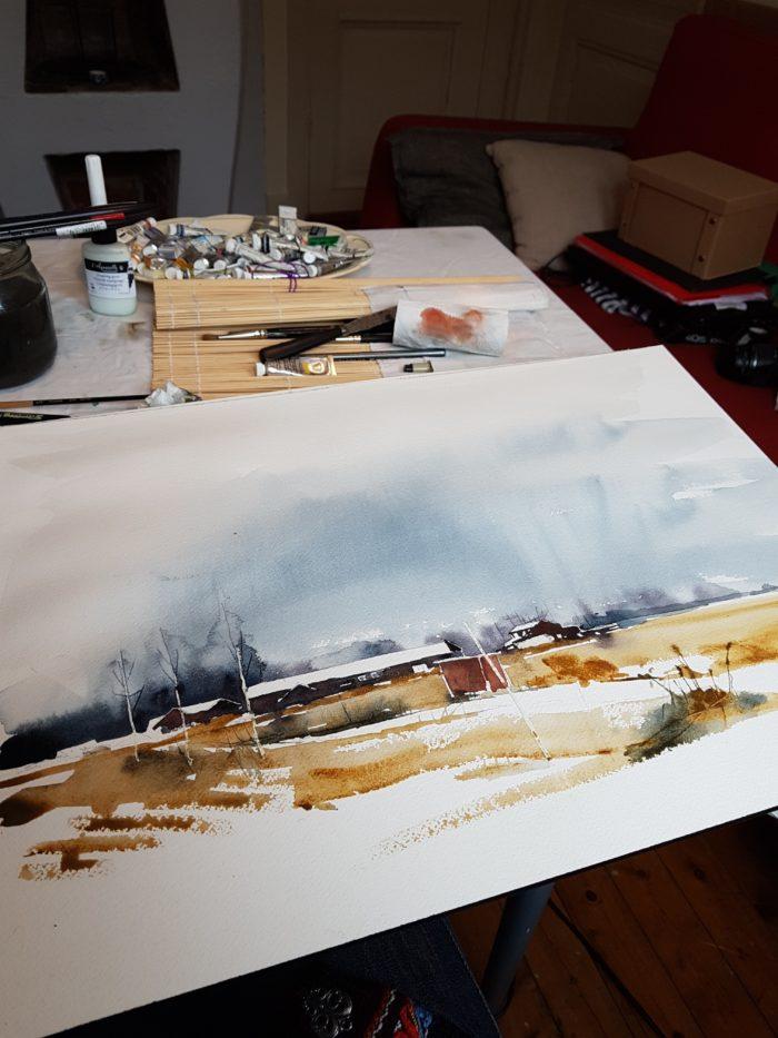 Halvfärdig akvarell