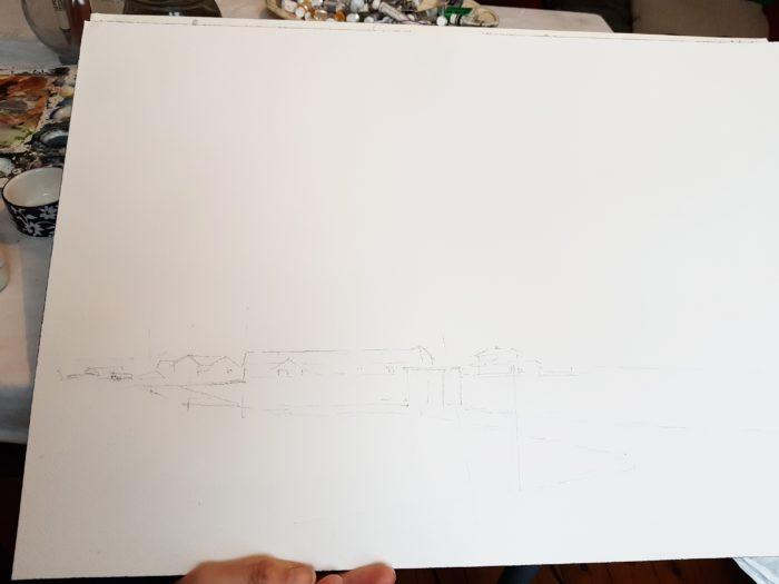 Skiss till akvarell