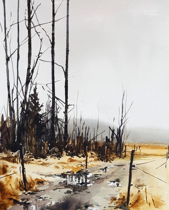 Akvarellmålning, slaskig stig intill hästhagar i Sättralund