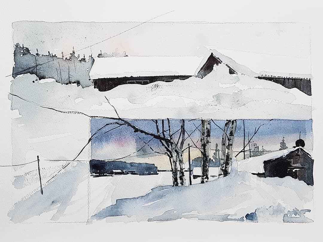 Akvarell av Elisabeth Biström 2018