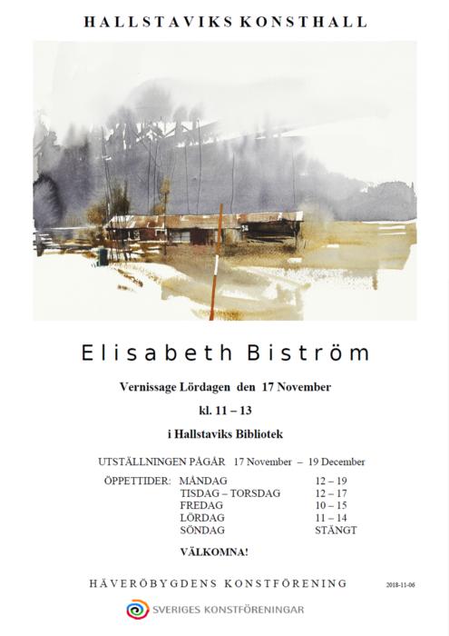 Elisabeth Biström ställer ut akvareller på Hallstaviks konsthall november-december 2018