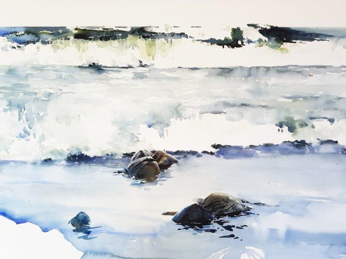 """Processbild av akvarellen """"Vågrytmer"""""""