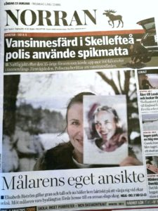 """Framsida Norran 13 januari 2018, rubrik: """"Målarens eget ansikte"""". Om Elisabeth Biströms nya liv som akvarellkonstnär i Roslagen."""