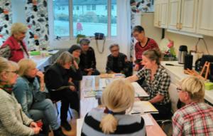 Demonstrationsmålning vid endags-akvarellkurs hos akvarellsällskapet Färgglädjen i Tyresö