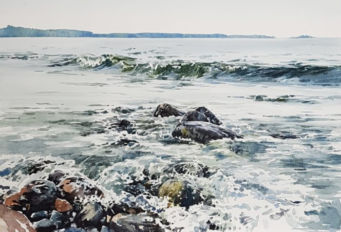 Havsmotiv i akvarell