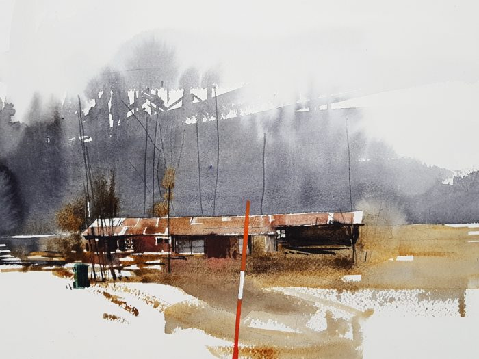Akvarell Elisabeth Biström 2018 - ett skjul i en grannby