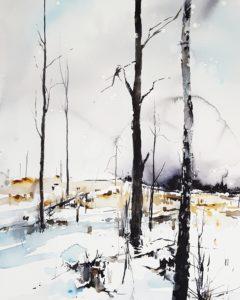 Akvarell av Elisabeth Biström, 50x70 cm, föreställande ett snöigt kalhygge