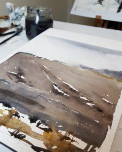 Halvvägs färdig akvarell