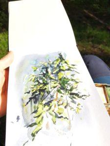 Akvarellskiss av Elisabeth Biström.