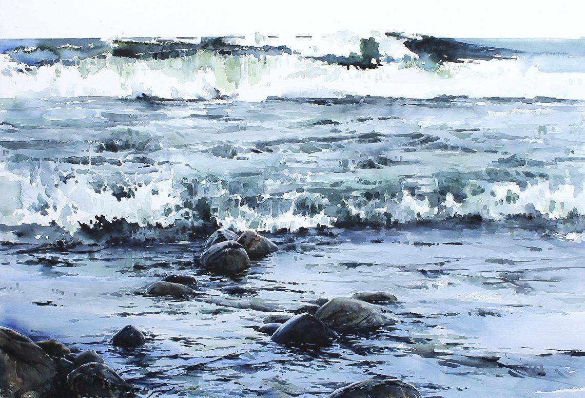 Vågrytmer, akvarell av Elisabeth Biström