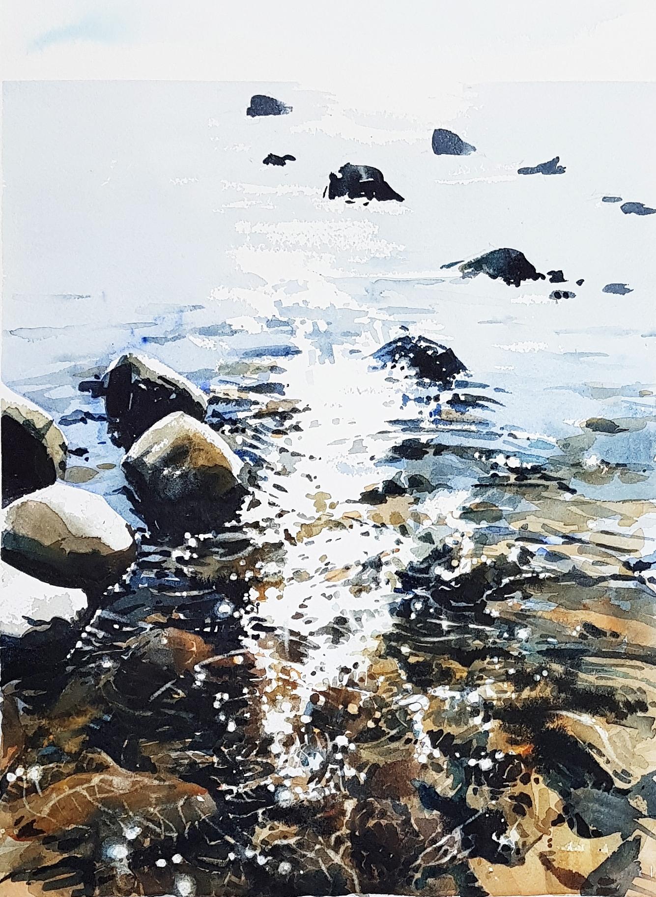 Solen leker. Akvarell av Elisabeth Biström.