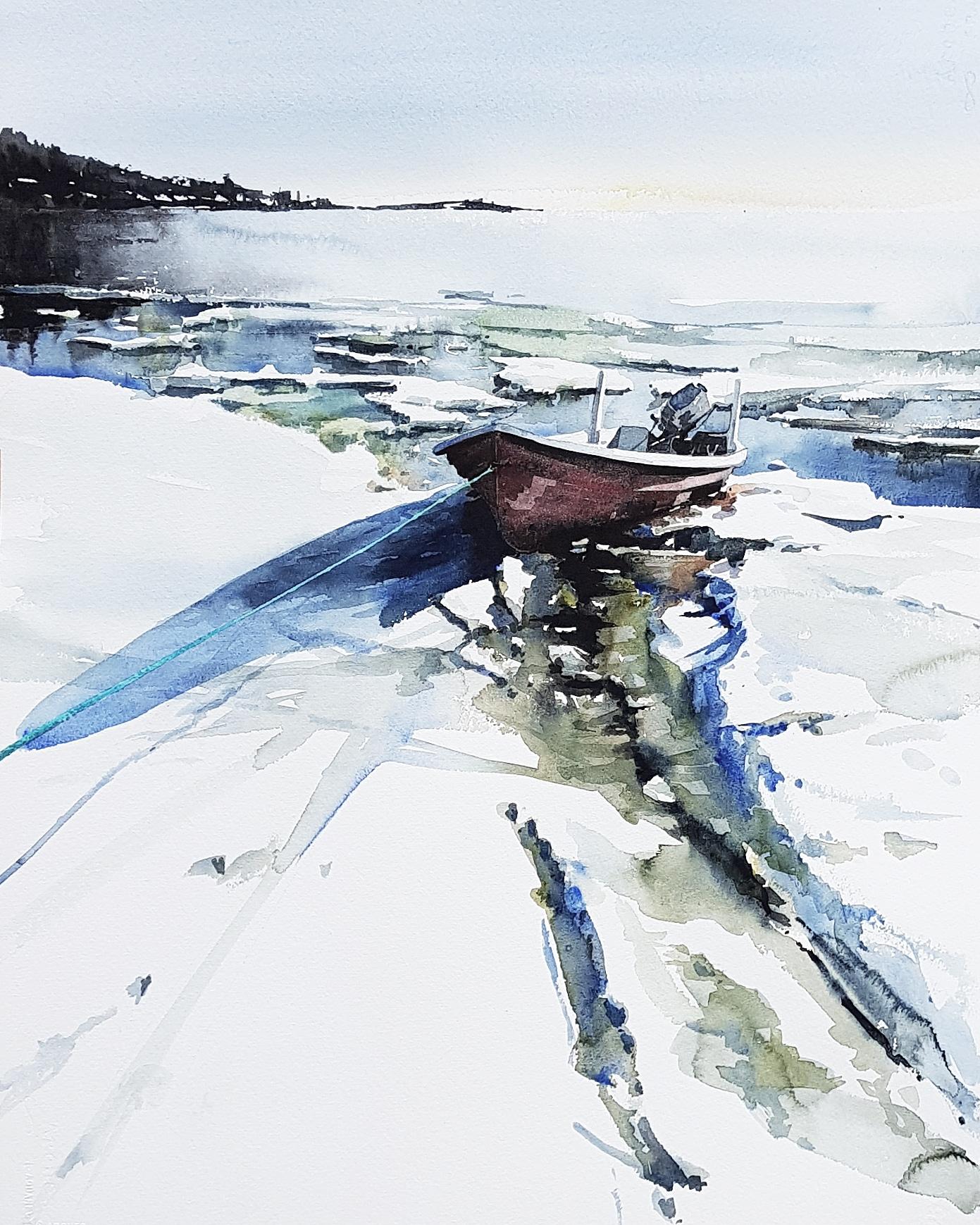 Smältis. Akvarell av Elisabeth Biström.