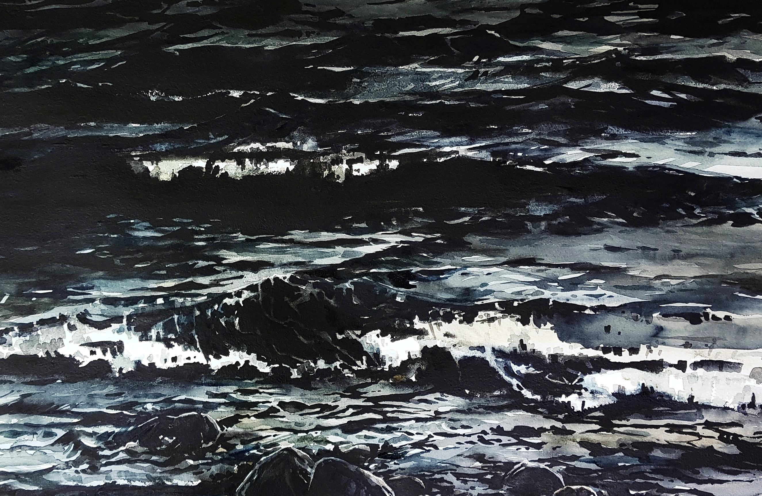 Natt. Akvarell av Elisabeth Biström.