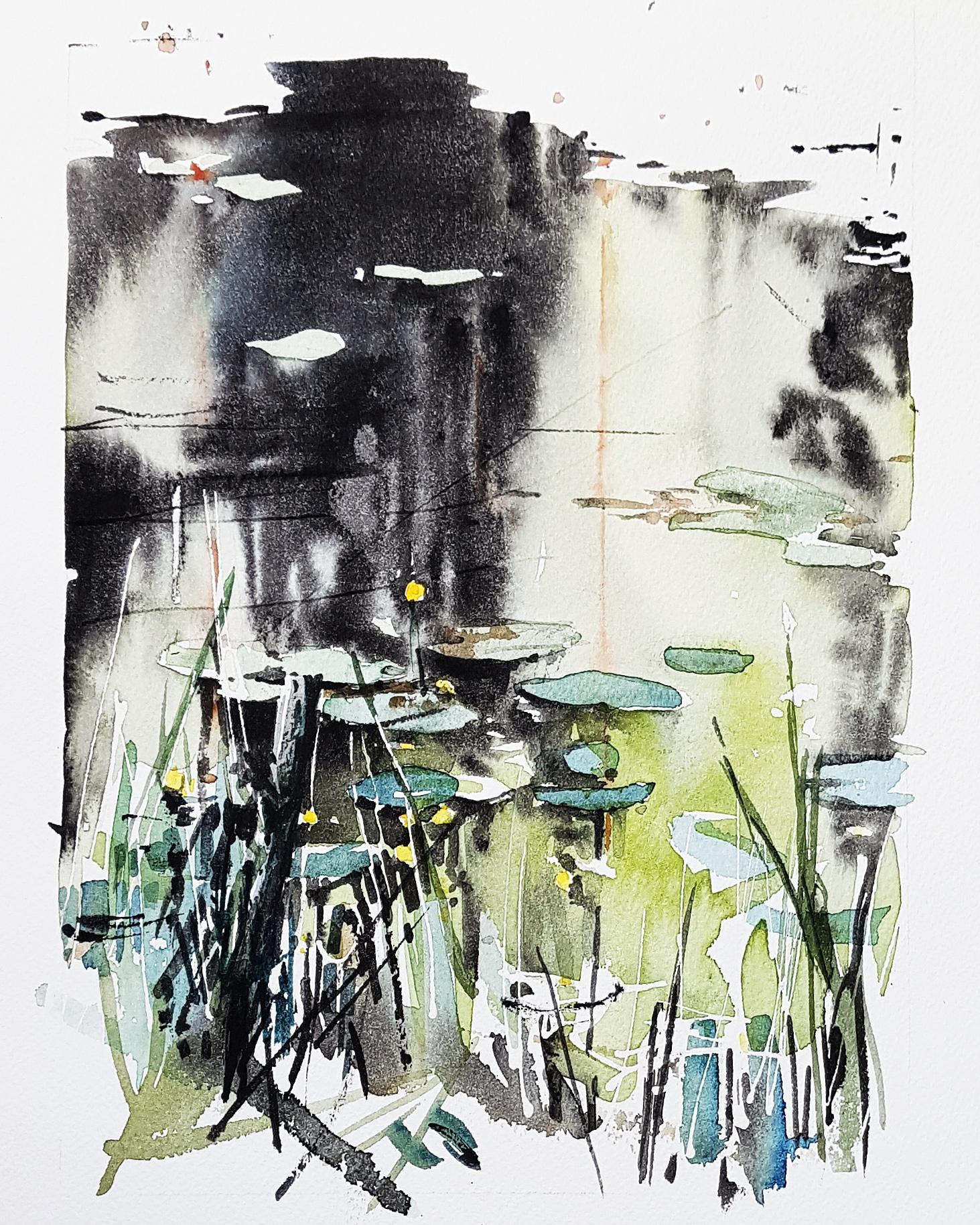 Sjö, gräs. Akvarell av Elisabeth Biström.