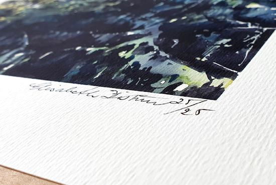 Detalj från konsttryck av Elisabeth Biström